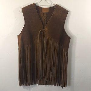 Vintage 100% Suede Leather Fringe Vest Festival
